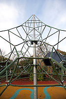 Cable climbing frame in playground