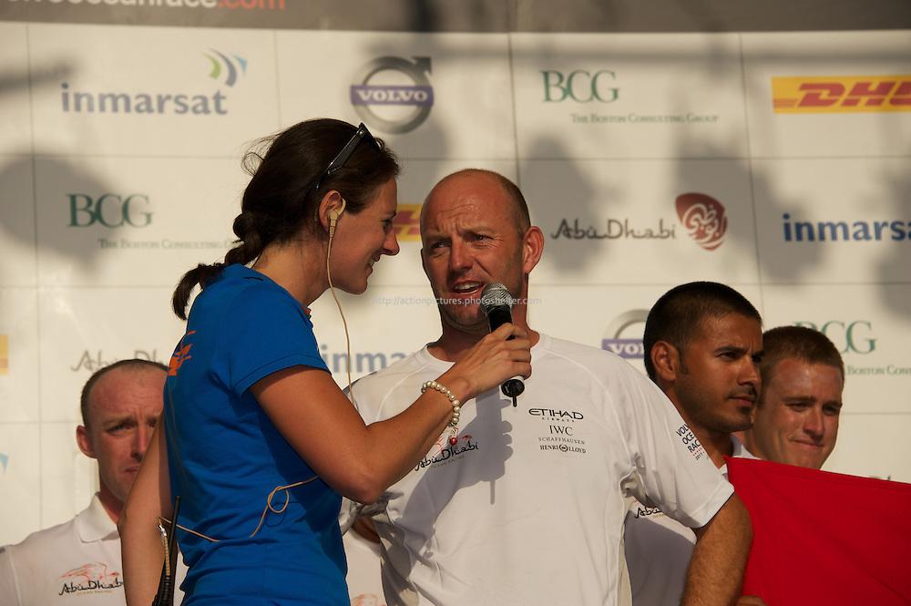 13.01.2012, Abu Dhabi. Volvo Ocean Race, . Abu Dhabi Ocean racing boat winner team is congratuled, skipper Ian Walker,