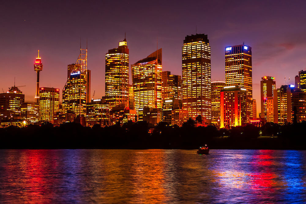 Twilight view of the Sydney skyline (Central Business District), Sydney, New South Wales, Australia