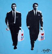 Twat Street Artist. Every little hurts.The Tesco Kray Twins Hackney Road E2 Bethnal Green near Shoreditch High Street London.<br /> PIC JAYNE RUSSELL. 20.06.2009