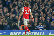RED CARD Arsenal defender David Luiz (23) is sent off, during the Premier League match between Chelsea and Arsenal at Stamford Bridge, London, England on 21 January 2020.