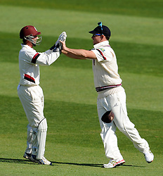Somerset's Jim Allenby and Alex Barrow celebrate the wicket of Durham's Keaton Jennings. - Photo mandatory by-line: Harry Trump/JMP - Mobile: 07966 386802 - 14/04/15 - SPORT - CRICKET - LVCC County Championship - Day 3 - Somerset v Durham - The County Ground, Taunton, England.