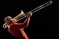 Man Playing Trombone side view