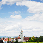 A view of vineyards and the town of Hagnau near Lake Constance (Bodensee) in southern Germany.<br /> <br /> + ART PRINTS +<br /> To order prints or cards of this image, visit:<br /> http://greg-stechishin.artistwebsites.com/featured/hagnau-vineyards-greg-stechishin.html