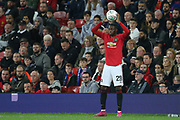 Manchester United's Aaron Wan-Bissaka takes a trow in during the EFL Cup match between Manchester United and Rochdale at Old Trafford, Manchester, England on 25 September 2019.
