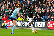 Freddie Ladapo (19) of Plymouth Argyle on the attack during the EFL Sky Bet League 1 match between Plymouth Argyle and Accrington Stanley at Home Park, Plymouth, England on 22 December 2018.