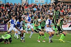 A corner causes problems for the Plymouth Argyle defence - Mandatory by-line: Neil Brookman/JMP - 30/09/2017 - FOOTBALL - Memorial Stadium - Bristol, England - Bristol Rovers v Plymouth Argyle - Sky Bet League One