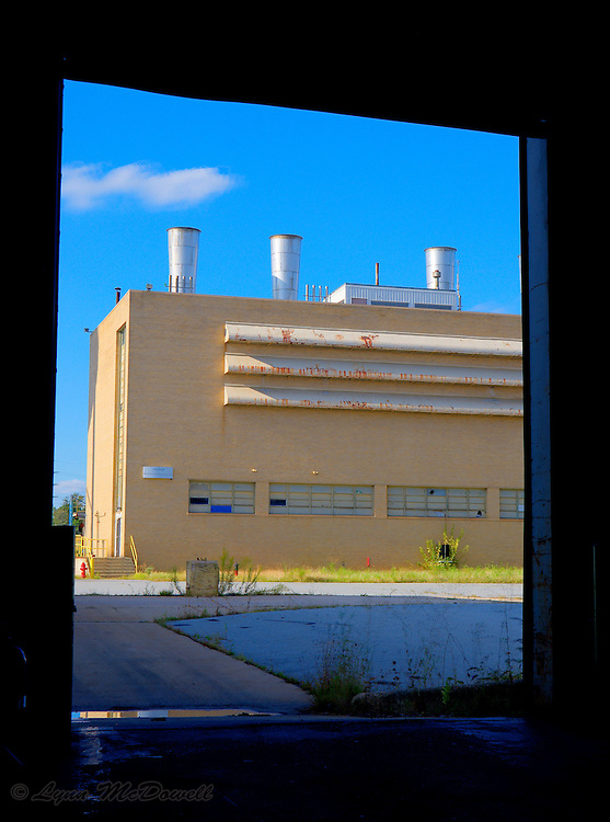 View of the power house through a door of the Chrysler Newark main assembly plant, HDR image