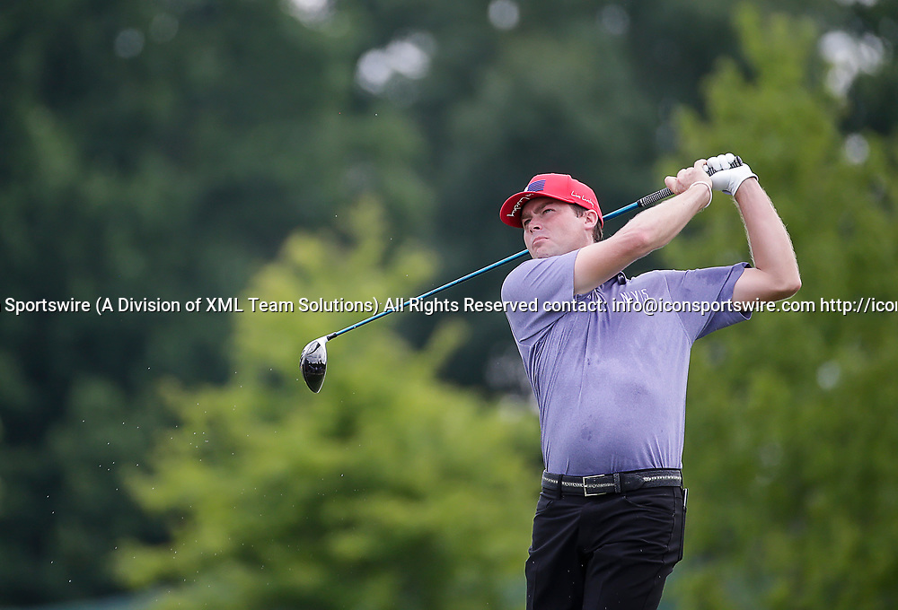 POTOMAC, MD - JULY 01:  Kyle Reifers tees off on the 2nd hole during the third round of the Quicken Loans National at TPC Potomac at Avenel Farm in Potomac, MD.(Photo by Justin Cooper/Icon Sportswire)