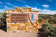 Park entrance sign, Hovenweep National Monument, Utah USA