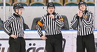 2020-01-19 | Umeå, Sweden: Referee Oliver Edrén, Alexander Skopac and Albin Värmhed in AllEttan during the game  between Teg and Vallentuna at A3 Arena ( Photo by: Michael Lundström | Swe Press Photo )<br /> <br /> Keywords: Umeå, Hockey, AllEttan, A3 Arena, Teg, Vallentuna, mltv200119