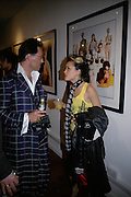 Guy Hills and Devlin Love ( Zoe Reynolds ) Exhibition of photographs by NME photographer Lawrence Watson. Studio 2. Redchurch St. London. 26 April 2007.  -DO NOT ARCHIVE-© Copyright Photograph by Dafydd Jones. 248 Clapham Rd. London SW9 0PZ. Tel 0207 820 0771. www.dafjones.com.
