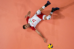 23-09-2019 NED: EC Volleyball 2019 Poland - Germany, Apeldoorn<br /> 1/4 final EC Volleyball - Poland win 3-0 / Karol Klos #77 of Poland
