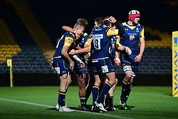 Michael Dowsett of Worcester Cavaliers celebrates his try with team mates - Mandatory by-line: Craig Thomas/JMP - 23/10/2017 - RUGBY - Sixways Stadium - Worcester, England - Worcester Cavaliers v Wasps - Aviva A League