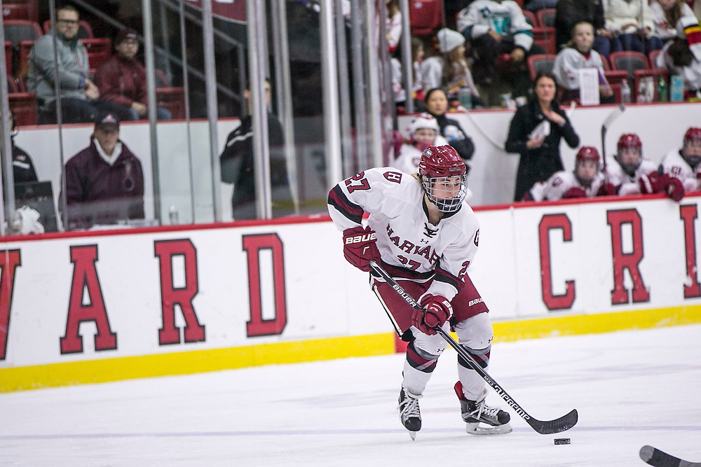 February 6, 2016, Cambridge, MA:<br /> Game action during a women's hockey game between Harvard University and Yale University at Harvard University in Cambridge, Massachusetts Saturday, February 6, 2016. <br /> (Photo by Billie Weiss/Harvard University Athletics)