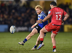 Tom Homer of Bath Rugby puts boot to ball - Mandatory byline: Patrick Khachfe/JMP - 07966 386802 - 29/11/2019 - RUGBY UNION - The Recreation Ground - Bath, England - Bath Rugby v Saracens - Gallagher Premiership