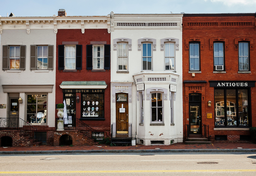 Shop fronts on the picturesque Georgetown Street Georgetown, Washington DC<br /> <br /> EDITORIAL USE ONLY