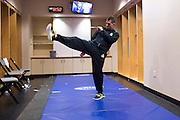 DALLAS, TX - MARCH 14:  UFC lightweight champion Anthony Pettis warms up before his fight against Rafael Dos Anjos during UFC 185 at the American Airlines Center on March 14, 2015 in Dallas, Texas. (Photo by Cooper Neill/Zuffa LLC/Zuffa LLC via Getty Images) *** Local Caption *** Anthony Pettis