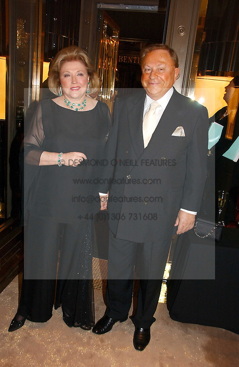 Top selling writer BARBARA TAYLOR BRADFORD and her husband MR ROBERT BRADFORD at a party to ceebrate the bublication of 'The Ravenscar Dynasty' by Barbara Taylor Bradford hld at the newly opened Mousaieff Store, 172 New Bond Street, London on 28th September 2006.<br />