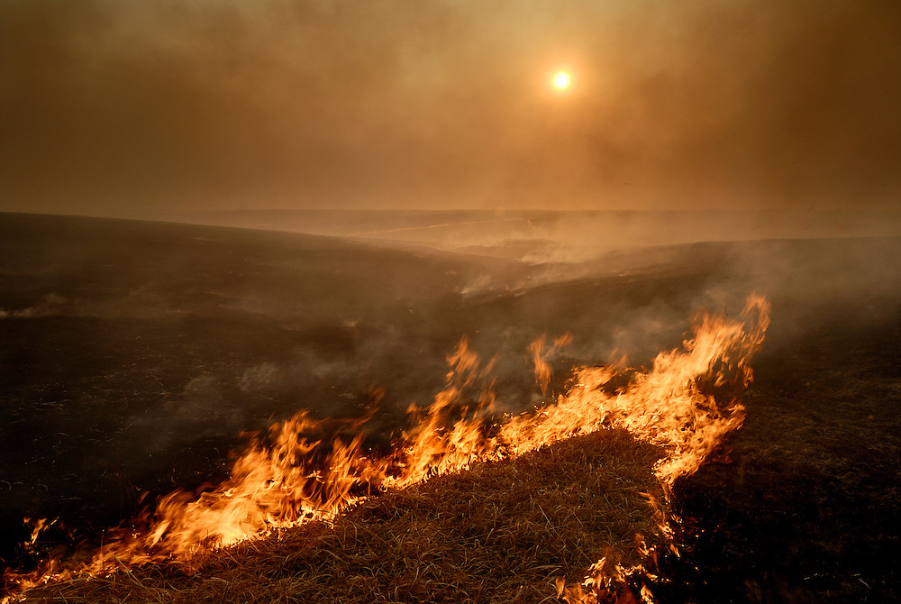 Spring burning of the Flint Hills, along Four Mile Creek Road, southwest of Council Grove, Kansas.