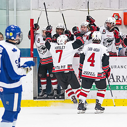 GEORGETOWN, ON - MARCH 2: Andrew Horsley #7 of the Georgetown Raiders celebrates with teammates on the bench after scoring a goal March 2, 2019 at Gordon Alcott Memorial Arena in Georgetown, Ontario, Canada.<br /> (Photo by Dave Fryer / OJHL Images)