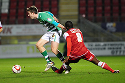 Yeovil Town Dominic Blizzard skips past a challenge from Leyton Orient's Anthony Griffith - Photo mandatory by-line: Dougie Allward/JMP - Tel: Mobile: 07966 386802 09/01/2013 - SPORT - FOOTBALL - Matchroom Stadium - London -  Leyton Orient v Yeovil Town - Johnstone's Paint Trophy Southern area semi-final.