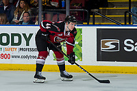 KELOWNA, BC - JANUARY 26:  Bowen Byram #44 of the Vancouver Giants lines up against the Kelowna Rockets at Prospera Place on January 26, 2019 in Kelowna, Canada. (Photo by Marissa Baecker/Getty Images)