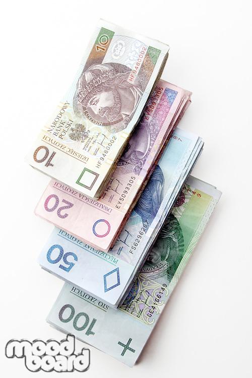 Polish money - zloty isolated on white background