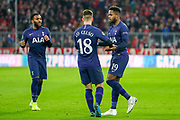 Goal! Tottenham Hotspur midfielder Ryan Sessegnon (19) scores a goal and celebrates with team mate Tottenham Hotspur midfielder Giovani Lo Celso (18) 1-1 during the Champions League match between Bayern Munich and Tottenham Hotspur at Allianz Arena, Munich, Germany on 11 December 2019.