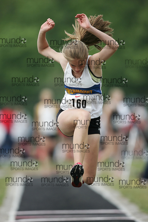 Hamilton, Ontario ---05/06/08--- Wendy Marshall of Birchmount Park in Scarborough competes in the triple jump at the 2008 OFSAA Track and Field meet in Hamilton, Ontario..GEOFF ROBINS