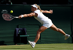 Angelique Kerber in action on day twelve of the Wimbledon Championships at the All England Lawn Tennis and Croquet Club, Wimbledon. PRESS ASSOCIATION Photo. Picture date: Saturday July 14, 2018. See PA story TENNIS Wimbledon. Photo credit should read: Jonathan Brady/PA Wire. RESTRICTIONS: Editorial use only. No commercial use without prior written consent of the AELTC. Still image use only - no moving images to emulate broadcast. No superimposing or removal of sponsor/ad logos. Call +44 (0)1158 447447 for further information.