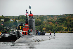 091015-N-3090M-450<br /> GROTON, Conn. (Oct. 15, 2009) The attack submarine USS Virginia (SSN 774) departs Naval Submarine Base New London to begin her first scheduled full-length deployment. The Virginia-class submarines are the first U.S. nuclear attack submarines designed for battle space dominance across a broad spectrum of missions, and are equipped with advanced sensors and other special features that enable them to execute numerous war fighting tasks simultaneously. (U.S. Navy photo by Mass Communication Specialist 1st Class Steven Myers/Released)