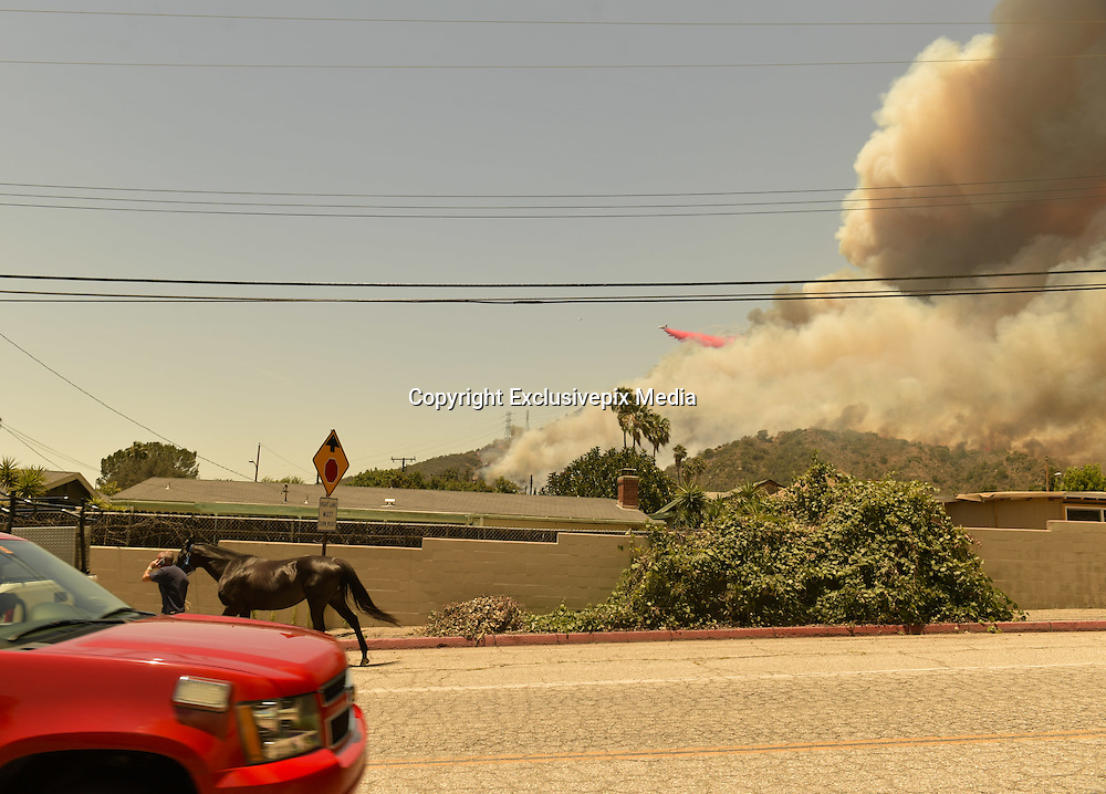 June 20, 2016 - Duarte, California, U.S. - A tanker drops retardant as a resident evacuates a horse on Fish Canyon Road as the Fish Fire burns Monday afternoon near Duarte. ..The Fish Fire burns above Duarte and Los Angeles County. The Reservoir Fire also started nearby during record heat in the Southwest. The fire was 1,400 acres at 2:50pm.<br /> &copy;Exclusivepix Media