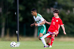 WREXHAM, WALES - Thursday, August 15, 2019: Northern Ireland's Ethan Sousa and Wales' Finlay Corrigan during the UEFA Under-15's Development Tournament match between Wales and Northern Ireland at Colliers Park. (Pic by Paul Greenwood/Propaganda)