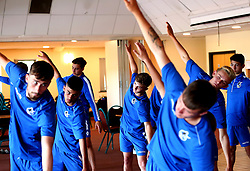 Bristol Rovers Academy players take part in a yoga session at training - Mandatory by-line: Robbie Stephenson/JMP - 13/07/2017 - FOOTBALL - Yate Outdoor Sports Complex - Yate, England - Bristol Rovers Youth Team Portraits