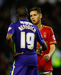Zakarya Bergdich of Charlton Athletic (L) and Jorge Grant of Nottingham Forest shake hands at the final whistle - Mandatory byline: Jack Phillips / JMP - 07966386802 - 18/8/2015 - FOOTBALL - The City Ground - Nottingham, Nottinghamshire - Nottingham Forest v Charlton Athletic - Sky Bet Championship