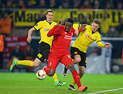 DORTMUND, GERMANY - Thursday, April 7, 2016: Liverpool's Divock Origi scores the first goal against Borussia Dortmund during the UEFA Europa League Quarter-Final 1st Leg match at Westfalenstadion. (Pic by David Rawcliffe/Propaganda)