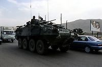 Kabul, 07 Augist 2005..Canadian Troops, on board of tanks, patrol the streets of Kabul