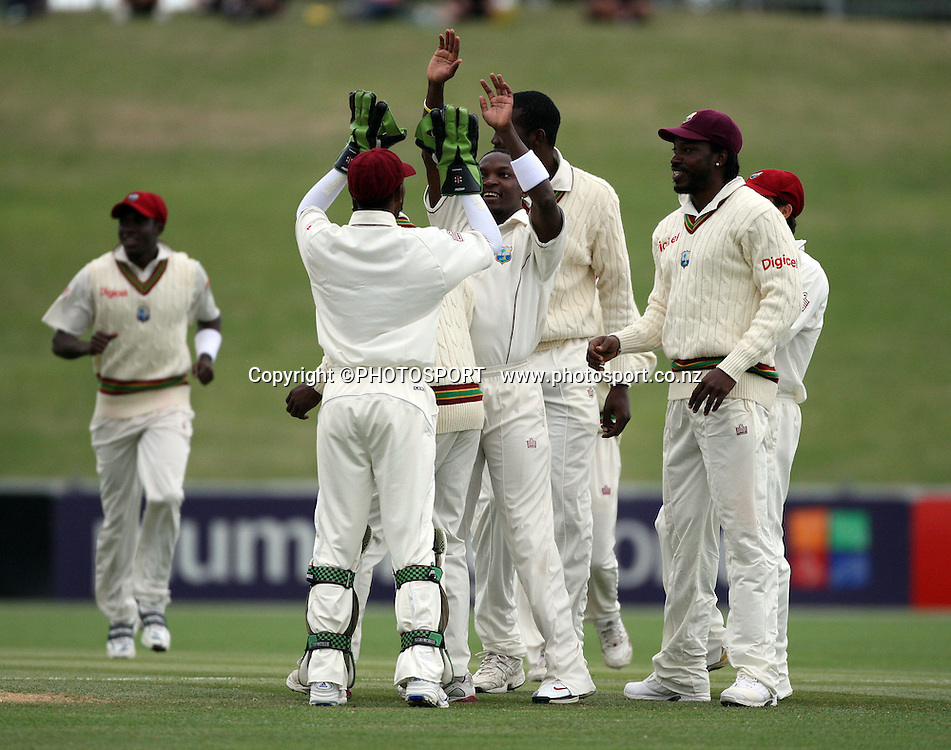 Fidel Edwards celebrates the wicket of Ross Taylor during play on day 3 of the second cricket test at McLean Park in Napier. National Bank Test Series, New Zealand v West Indies, Sunday 21 December 2008. Photo: Andrew Cornaga/PHOTOSPORT