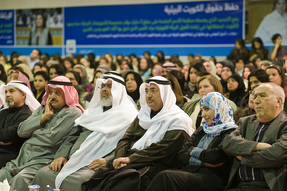 Tawakul Karman (2nd R), a Yemeni activist who won the Noble peace prize, listens attentively during a visit to Kuwait as Dr. Aseel Al-Awadhi, one of 24 women running in Kuwait's Feb. 2, 2012 parliamentary elections,  addresses a rally to mark the opening of her elections HQ on 17 Jan. 2012. Al-Awadhi, who is running in Third District in Kuwait, is among a total of 340 candidates taking part in the polls for a new 50-seat National Assembly (parliament).
