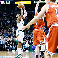 21 December 2012: Boston Celtics small forward Paul Pierce (34) takes a 3 point jumpshot to tie the game at the end of the game during the Milwaukee Bucks 99-94 overtime victory over the Boston Celtics at the TD Garden, Boston, Massachusetts, USA.