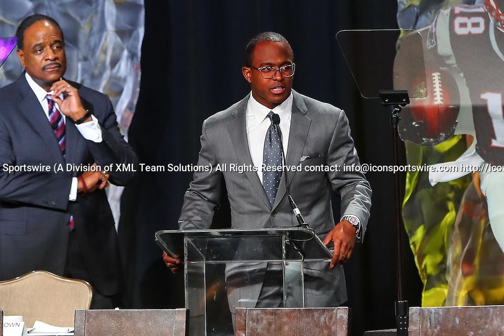 HOUSTON, TX - FEBRUARY 04:  New England Patriots wide receiver Matthew Slater (18) recipient of the 2017 Bart Starr Award speaks during the Bart Starr Award Super Bowl Breakfast on February 04, 2017, at the Marriott Marquis in Houston, Texas.  (Photo by Rich Graessle/Icon Sportswire)