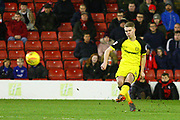 Burton Albion's Jacob Davenport scores a goal 2-0 during the EFL Sky Bet Championship match between Barnsley and Burton Albion at Oakwell, Barnsley, England on 20 February 2018. Picture by John Potts.