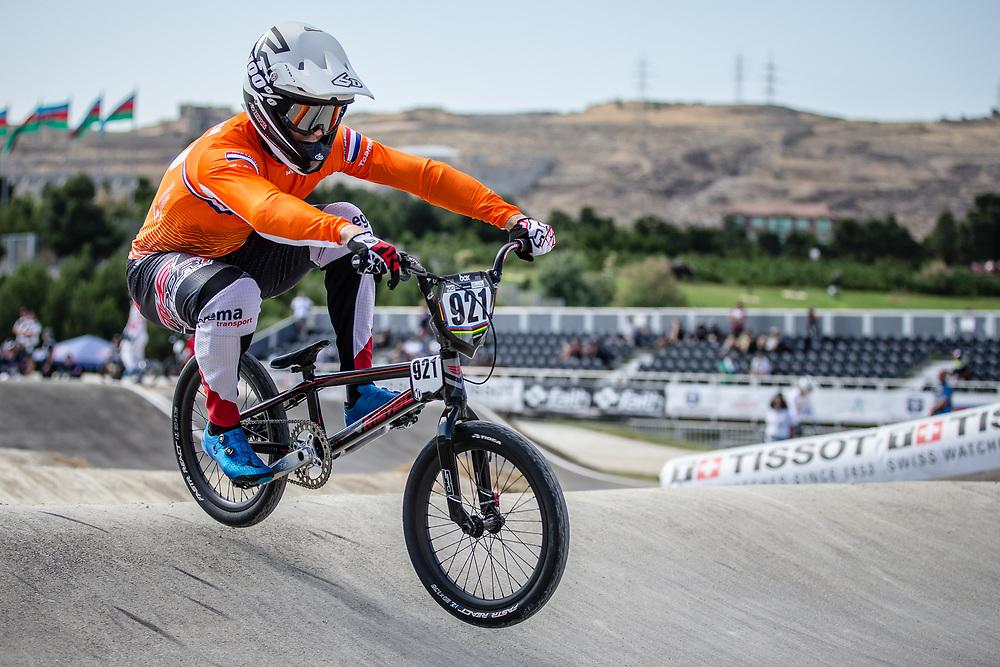 Men Elite #921 (HARMSEN Joris) NED the 2018 UCI BMX World Championships in Baku, Azerbaijan.
