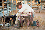 26 NOVEMBER 2011 - CHANDLER, AZ:    Bullrider BRYCE BROWN prays before competing at the Grand Canyon Pro Rodeo Association (GCPRA) Finals at Rawhide Western Town in west Chandler, AZ, about 20 miles from Phoenix Saturday. The GCPRA Finals is the last rodeo of the GCPRA season. The GCPRA is a professional rodeo association based in Arizona.    PHOTO BY JACK KURTZ