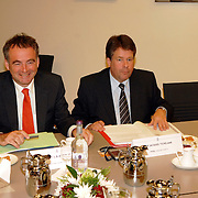 NLD/Den Haag/20070412 - Visit of Mr. Hans-Gert Pöttering, president of the European parliament to The Hague, meeting with the Presidents of the 4 leading political groups, Mr. Jacques Tichelaar en van Geel..NLD/Den Haag/20070412 - President Europees Parlement Hans-Gert Pöttering bezoekt Den Haag, ontmoeting met de 4 politiieke leiders van de grootste partijen.  ** foto + verplichte naamsvermelding Brunopress/Edwin Janssen  **