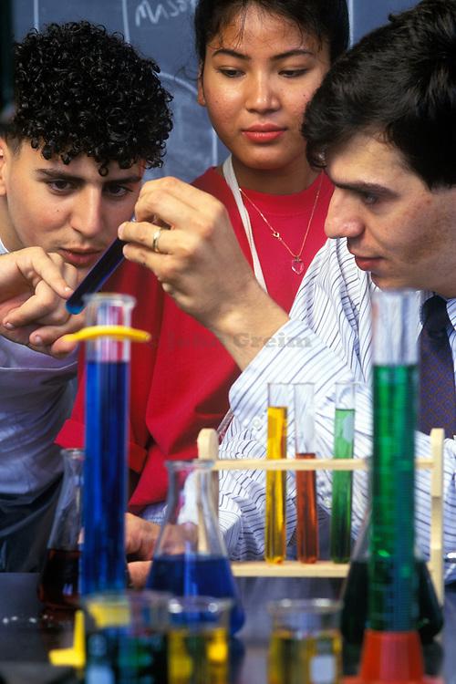 High school chemistry lab class.