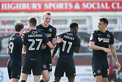 Dan Burn of Wigan Athletic celebrates with teammates after scoring a goal to make it 3-0 - Mandatory by-line: Robbie Stephenson/JMP - 21/04/2018 - FOOTBALL - Highbury Stadium - Fleetwood, England - Fleetwood Town v Wigan Athletic - Sky Bet League One