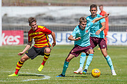 Hearts Harry Cochrane holds off Patick's Blair Spittal  during the Pre-Season Friendly match between Partick Thistle and Heart of Midlothian at Central Park Stadium, Cowdenbeathl, Scotland on 8 July 2018. Picture by Malcolm Mackenzie.