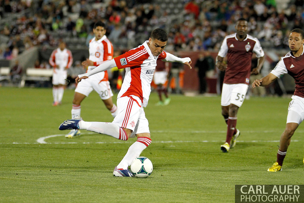 May 4th, 2013 Commerce City, CO - Toronto FC midfielder Luis Silva (11) sets to fire a shoot attempt in the second half of the MLS match between the Toronto FC and the Colorado Rapids at Dick's Sporting Goods Park in Commerce City, CO